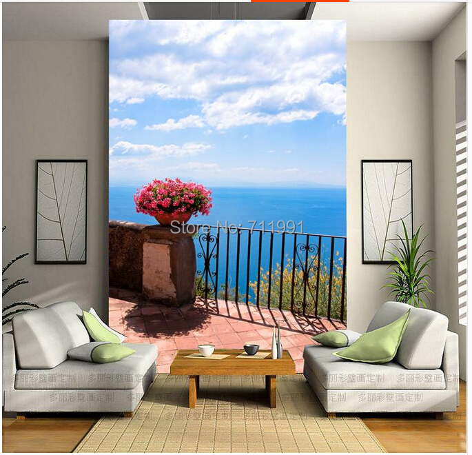 Free shipping custom wallpaper mural in modern 3D entrance hallway corridor room background wall paper Med Aegean Sea free shipping 3d stereo entrance hallway custom wallpaper vertical version european oil painting wallpaper mural