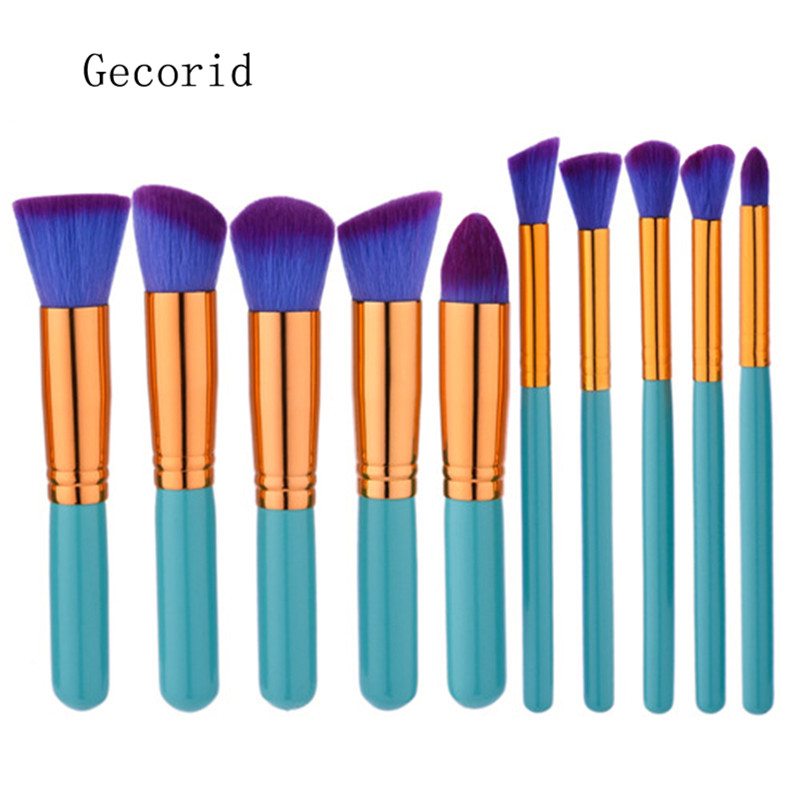 10Pcs Wood Handle Makeup Brushes Powder Eyeshadow Highlighter Face Brush Cleaner Cosmetics Professional Make Up Brush Set ombre handle makeup brush 10pcs