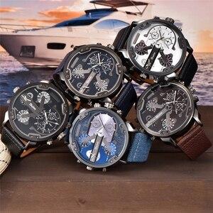 Image 5 - Oulm Klassische Multiple Time Zone herren Uhren Super Große Zifferblatt Männlichen Sport Uhr Luxus Marke Casual Leder Quarzuhr