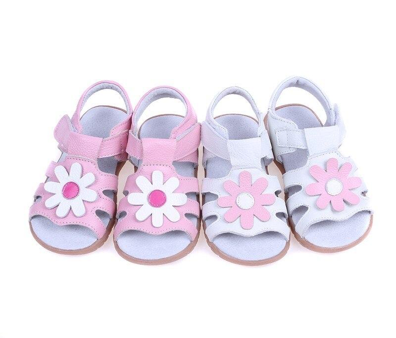 Для девочек босоножки с Т-образным ремешком Летняя обувь подарок для малышей обувь для детей малышей нескользящая подошва белый розовый цветы ромашки ручной работы со