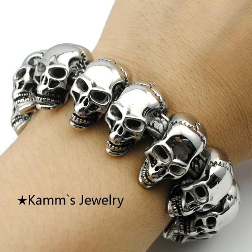 Heavy Cool! 24mm Width Big Skull Bracelet 316L Stainless Steel Men's bracelets Punk Rock Biker Jewelry Top Quality KB548 cool stainless steel bracelets 20mm width men new arrival punk rock keel mens bracelets