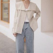 Spring Fashion New Womens Windbreaker Soild Color Sailor Collar Jacket Coat