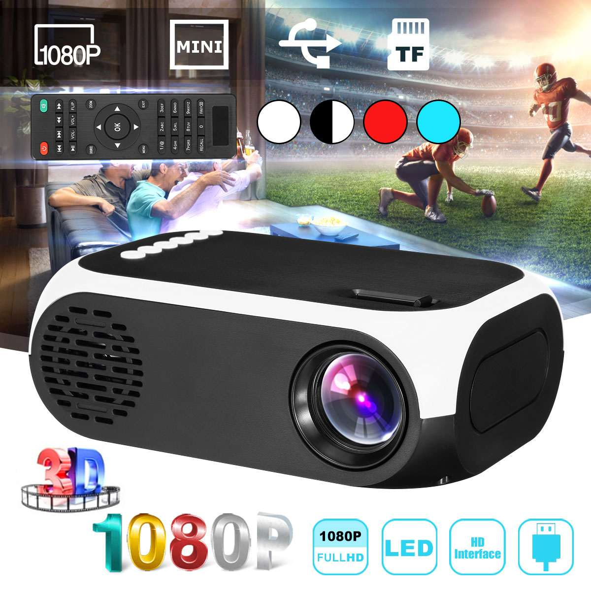 Mini projector 1080p HD USB TF Portable Cinema Projector Home Theatre System Support 3D Movie Household Projector