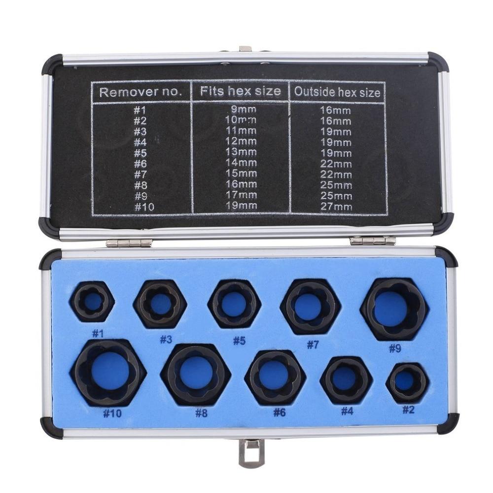 Top Quality 10 pcs Danificado Parafuso Porca Parafuso Removedor Extrator Remoção Conjunto de Soquete Ferramenta Enfiar Baixo Kit ferramentas herramientas