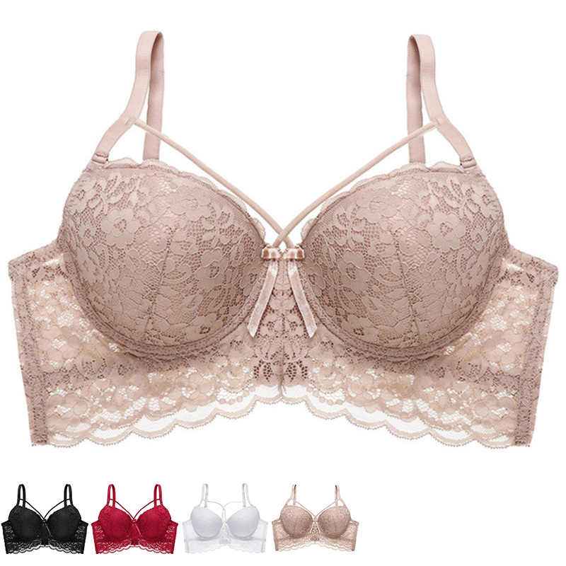 Ultra Thin Lace Fly Bra Female Brassiere Lingerie Plus Size C D Cup Push Up Seamless Comfortable Full Coverage Unlined Bra 2019