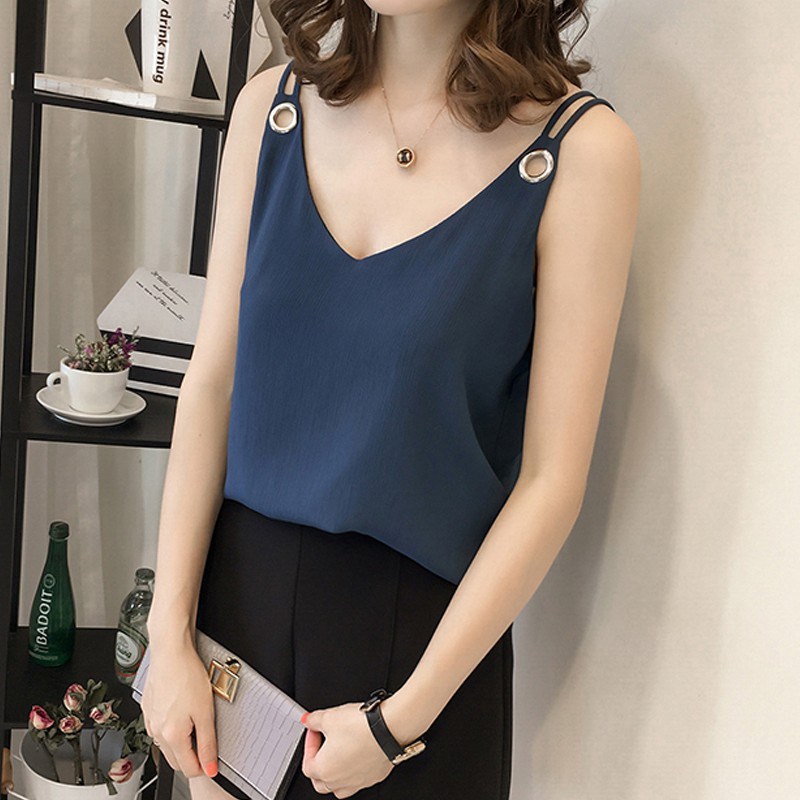 Blusas cuello Camisa 2018 Sin Correa Femininas Tamaño blanco Blusa Gasa Mujer De azul Camisas V Verano Mangas Más Mujeres Negro Tops caqui FnqfvSw6