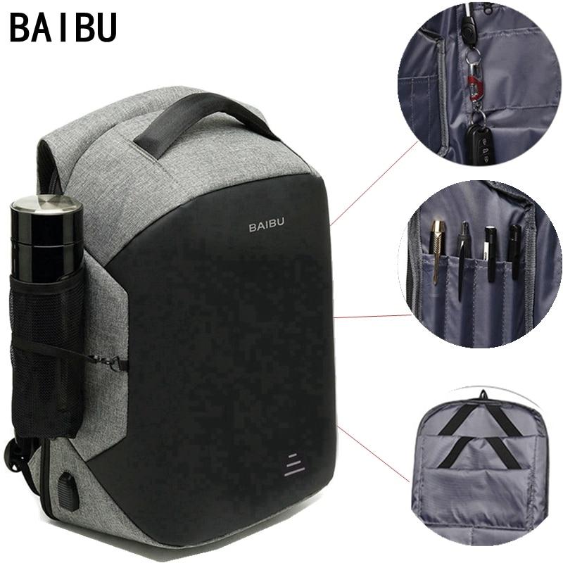 "Baibu Men Multifunction Backpack Anti-theft 15.6"" Laptop Backpack Usb Charging Women Waterproof Business Large Travel Backbag"