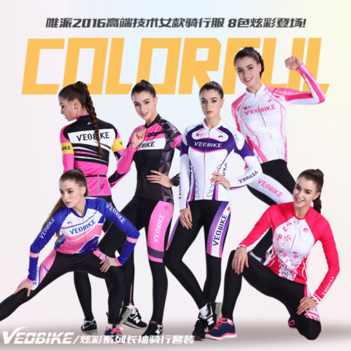 Women Cycling Bike Team Sports Jersey Long Sleeve Shirt Trousers Pant Set ...