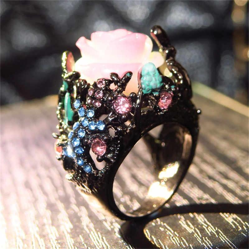 CC Vintage Perhiasan Cincin untuk Wanita Peony Bunga Pohon Anggur Kadal Hitam Warna Emas Mewah Pesta Hadiah DROP Shipping CC2211