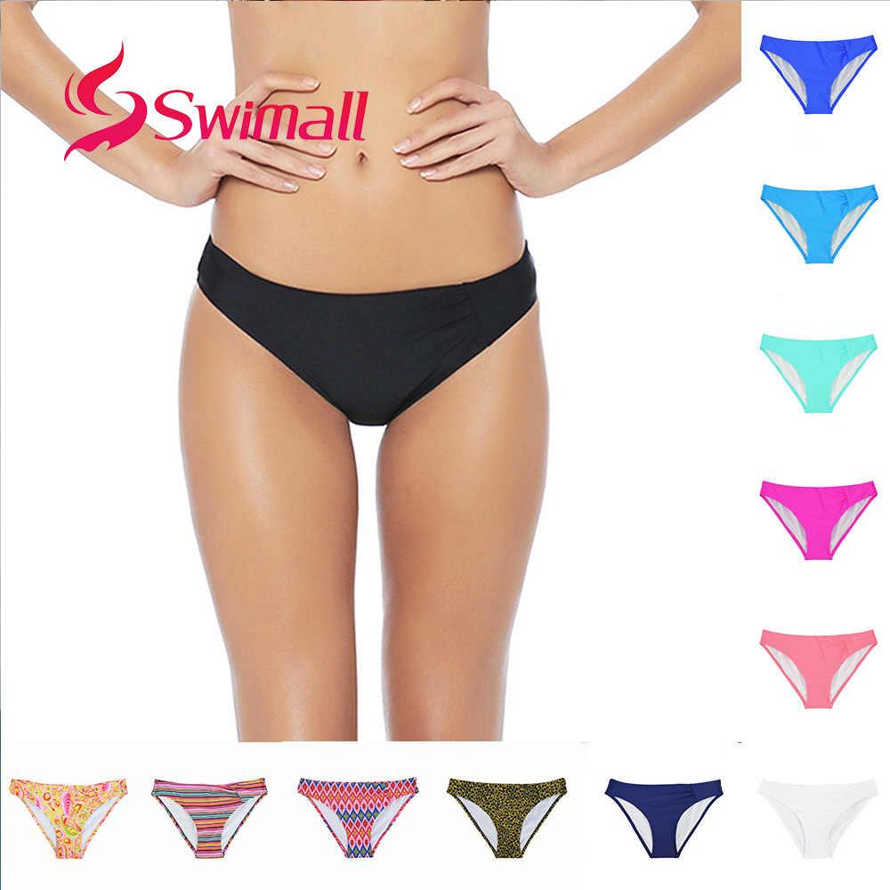 2019 Sexy niskiej talii dół od bikini kobiety drukuj cukierkowe kolory panie stroje kąpielowe strój kąpielowy klasyczny krój plaża pływać figi krótkie B601