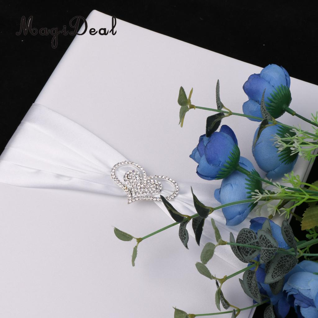 MagiDeal Delicate White 1Pc Wedding Photo Marriage Certificate Holder Cover Heart Rhinestone Craft for Bride Groom Supply White