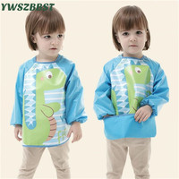 Kids Long Sleeve Waterproof Apron Bibs Baby Bib With Pocket Baby Bibs For Girls Boys Children