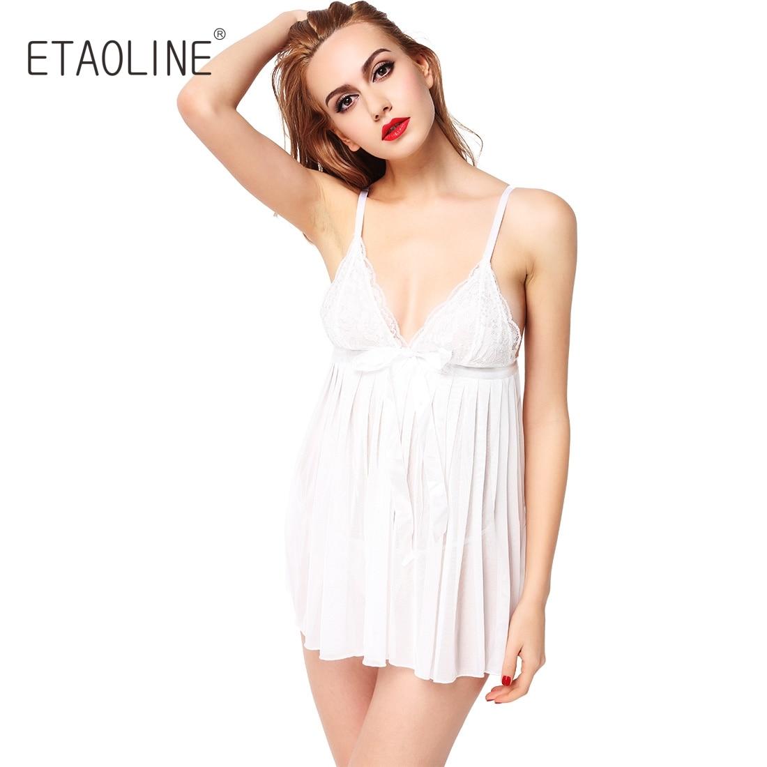 4edae33a1a2 ETAOLINE 2018 New Women Girl Sexy Lingerie Nightwear Underwear Nightgrown  Sleepwear Lace BabyDoll Dress Women s Sleepshirts