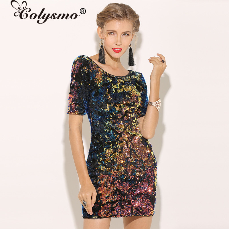 ff57e5a4c2 Colysmo Metallic Sequin Dress Women Backless Winter Party Dress Velvet Bodycon  Dress Sexy Club Wear Christmas Ladies Dresses New