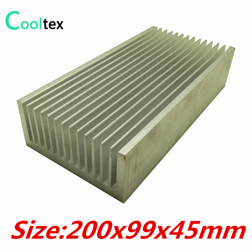 (High power) 200x99x45mm Pure Aluminum Extruded heatsink  cooler Heat Sink radiator for chip LED Electronic cooling DIY 5pcs lot pure copper broken groove memory mos radiator fin raspberry pi chip notebook radiator 14 14 4 0mm copper heatsink