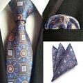 (30 Unids/lote) 2016 Nuevos hombres de la Moda 100% Corbatas y Pañuelos de Seda de Lujo Conjunto Geométrico Del Banquete de Boda de Bolsillo Square Pañuelo Lazos