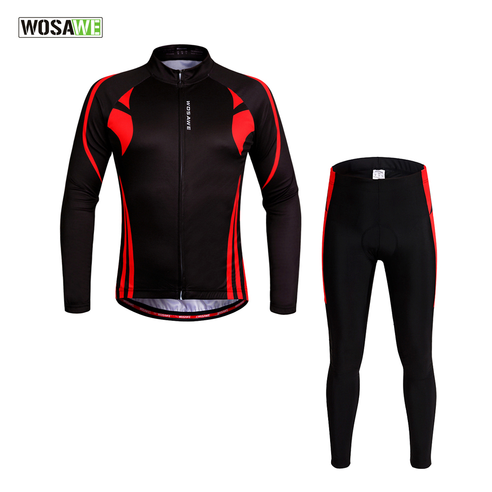 WOSAWE Men Long Sleeve Cycling Jersey 4D Gel Padded Tights Pants Set Breathable Quick Dry MTB