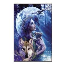 DIY 5D Diamond Painting Landscape Wolf Girl Cross Stitch Mosaic Embroidery Needlework Patterns Rhinestone Paintings