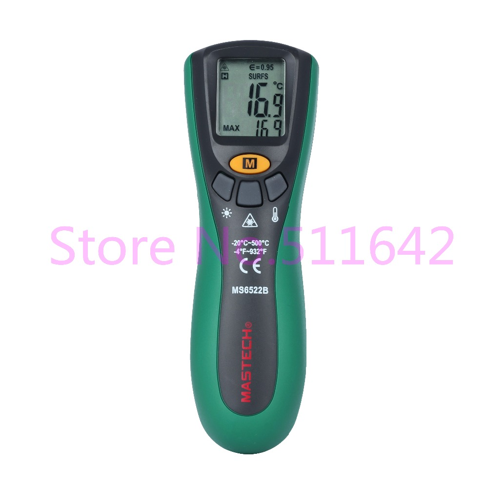 MASTECH MS6522B Non contact LCD Digital Laser Point IR Infrared Gun Thermometer Temperature Meter 10 1