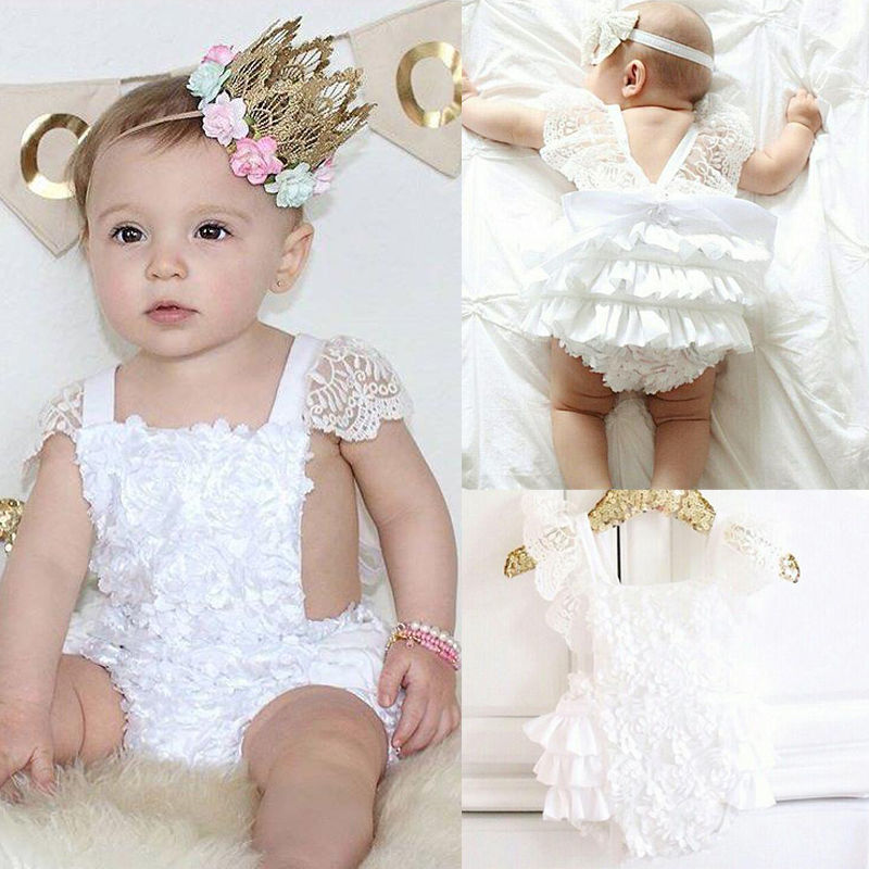 Baby Girls Princess Bodysuits Cotton Bow Cute White Cake Outfits Infant Baby Girl Clothes Lace Floral Ruffles Tirred 0-18M