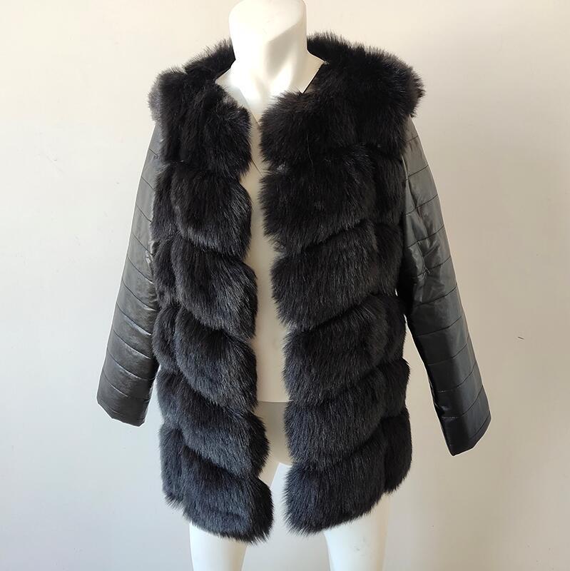UPPIN шуба Новые Большие размеры меховое пальто с рукавами из искусственной кожи женская зимняя куртка из искусственного меха лисы Женская Осенняя модная теплая верхняя одежда пальто шуба из искусственного меха шубы - Цвет: Черный