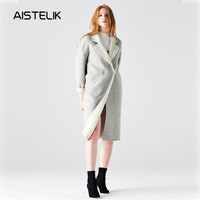 Double sided solid color cashmere coat women's casual noble 2018 autumn and winter fashion new alpaca coat