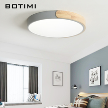 BOTIMI Modern 220V LED Ceiling Lights With Metal Lampshade For Bedroom Round Wooden Mounted Acrylic Lighting Fixtures