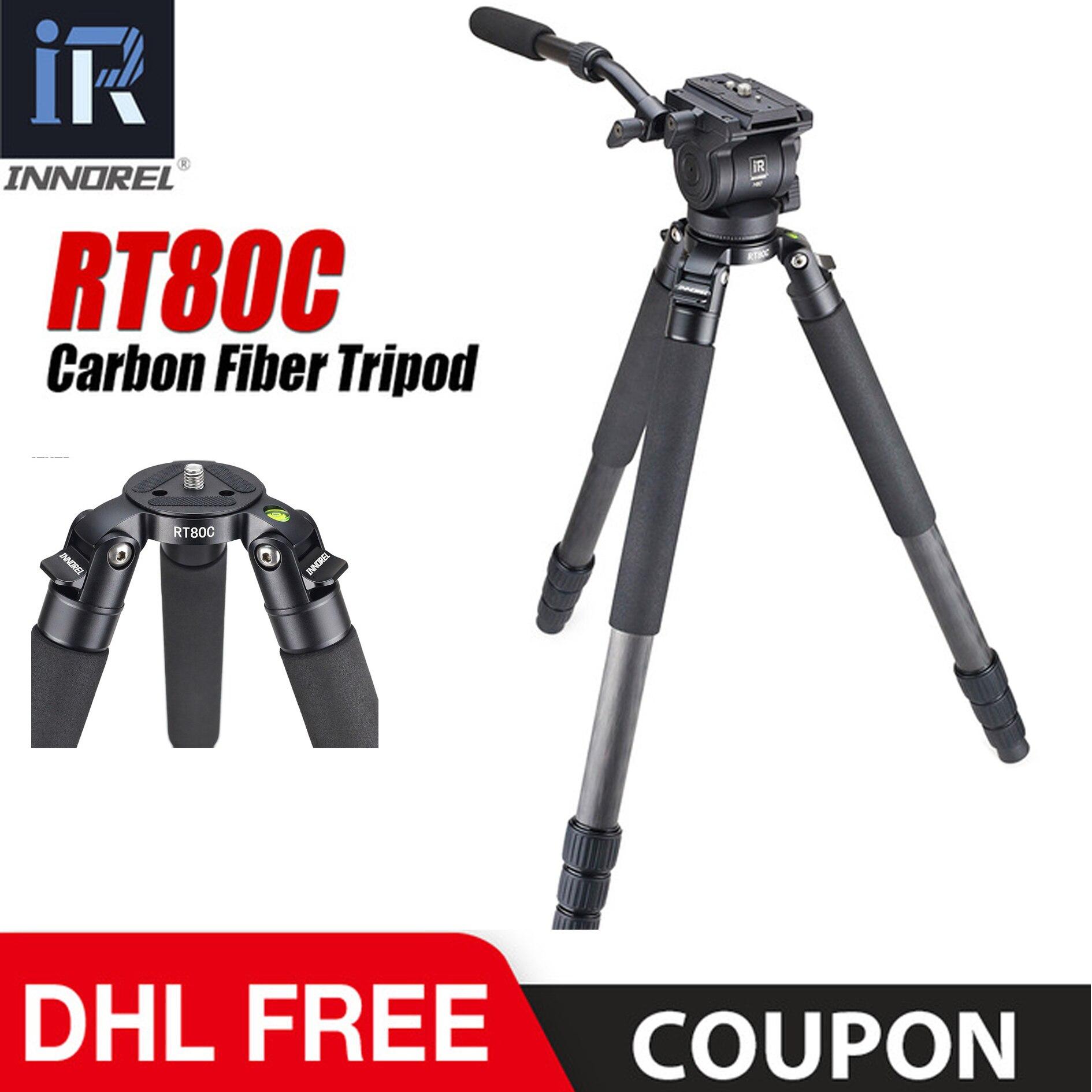 RT80C Professional carbon fiber video fluid head tripod for ARRI RED BMCC DSLR camera camcorder 20kg