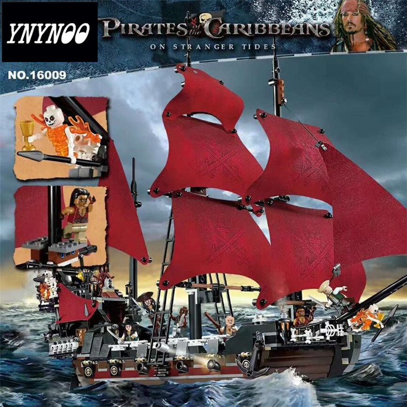 YNYNOO 16009 Movie Series Queen Anne's revenge Pirates of the Caribbean Building Block Set figures Compatible with 4195 hot classic movie pirates of the caribbean imperial warships building block model mini army figures lepins bricks 10210 toys