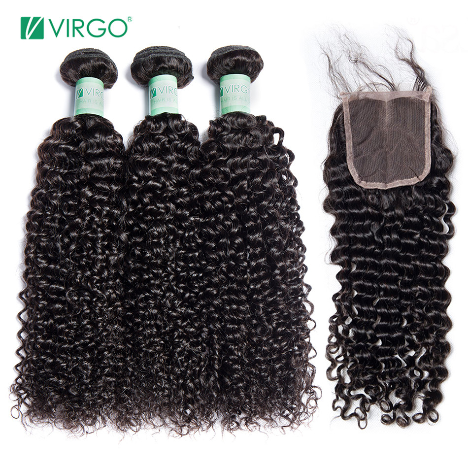 Analytical Virgo Brazilian Afro Kinky Curly Bundles With Closure Human Hair 3 Bundles With Closure Remy Hair Natural Black 1b 4 Bundles/lot 3/4 Bundles With Closure Hair Extensions & Wigs