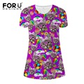 FORUDESIGNS Cute Dress Women Clothing Ukraine Girls Summer Fashion Short Dresses Cat Pencil Dress Slim Vestido de festa Aline