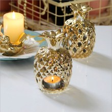 Hollow Candlestick Golden Ceramic Pineapple Wind Light Candle Holder European Luxury Home Decoration Ornaments Gift
