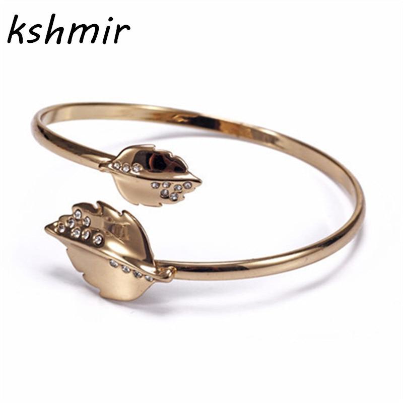 Han edition fashion joker contracted the new fashion Metal leaves open good bracelet female bracelet