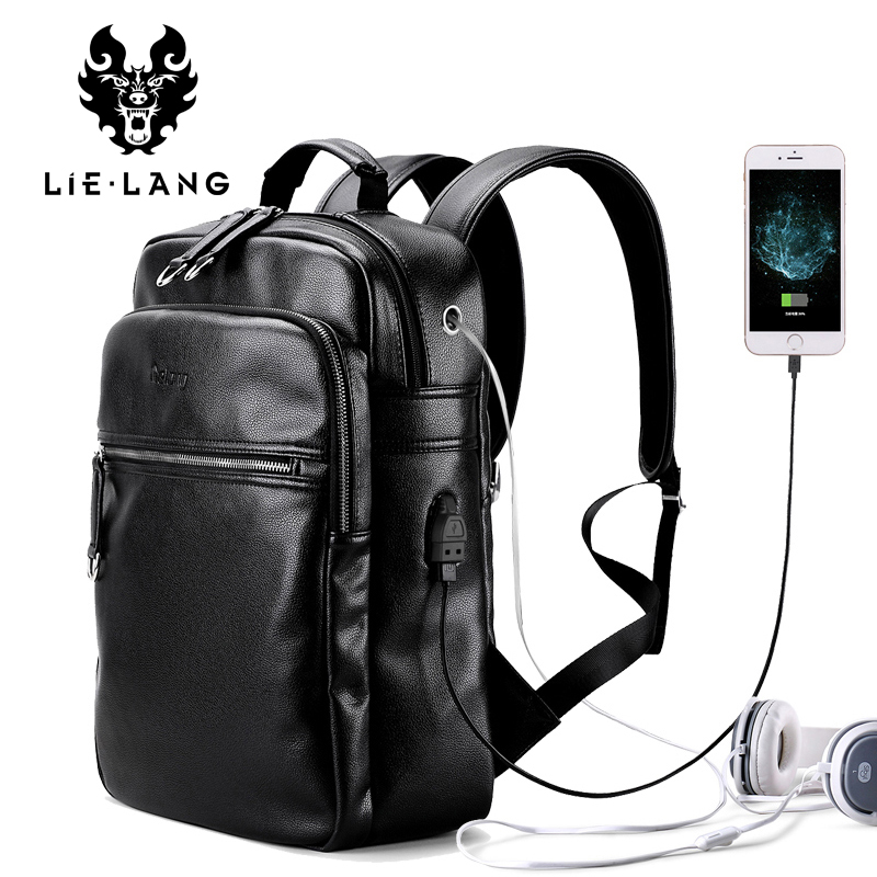 LIELANG New Arrival 2017 Men Backpack Fashion PU Leather Backpacks Laptop Bags External USB Charge Computer Antitheft Backpack ozuko multi functional men backpack waterproof usb charge computer backpacks 15inch laptop bag creative student school bags 2018