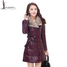 2018 Long Women Genuine Leather Down Jacket Female Coat Winter Fashion Large size Parka Women Warm Mink Hair Collar Outerwear
