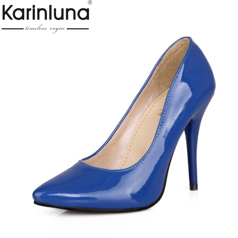KARINLUNA plus size 30-48 Candy Color Women Pumps thin high heels Pointed Toe Office Ladies Shoes Woman 2017 party dating comfy women pointed toe square high heels office shoes woman flock ladies pumps plus size 34 40 black grey high quality