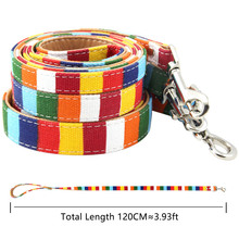 Colorful stripe Leashes for Dog Padded canvas&PU Leather Small Medium Large Leash Leads Walking Training Supplies S/M/L