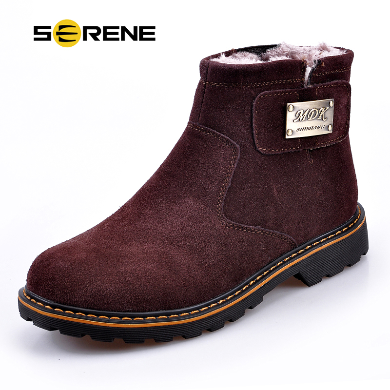 ed2506a16662 US $61.61 |SERENE Brand Men's Boots High Quality Male Shoes Suede Leather  Drive Shoe Warm Fur Winter Casual Snow Bot Man Mens Ankle Boots-in Basic ...