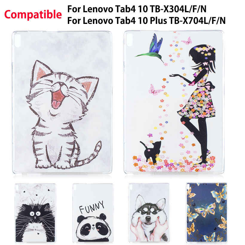Painted Soft TPU Case For Lenovo TAB4 Tab 4 10 TB-X304L TB-X304F/N Cover For Lenovo Tab 4 10 Plus TB-X704L TB-X704F/N Funda