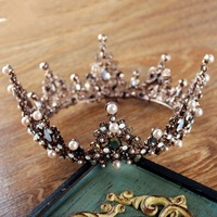 Retro vintage tiara Baroque luxury large round crown bride hair jewelry boutique headdress wedding hair decoration