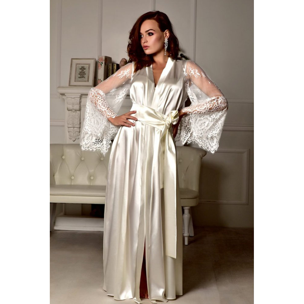 b98dd040e0 Dropwow Women Lace Silk Satin Kimono Robe Dressing Gown See Through ...