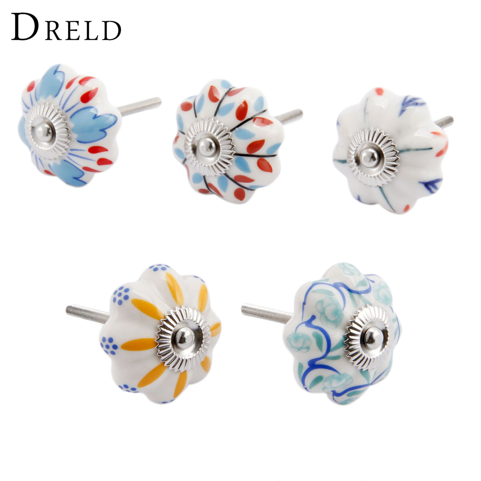 DRELD Vintage Furniture Handle Flower Ceramic Knobs and Handles Door Cupboard Drawer Kitchen Pull Knob Hardware