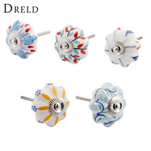 DRELD Vintage Furniture Handle Flower Ceramic Knobs and Handles Door Handle Cupboard Drawer Kitchen Pull Knob Furniture Hardware цена