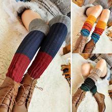 Женские зимние гетры выше колена, Длинные вязать крючком для ног, 3 цвета, милые блестящие носки, женские гетры, Beenwarmers BAC236