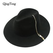 Прохладный черный на молнии фетровая шляпка шерстяная Винтаж Для женщин женская широкополая шляпа с широкими полями шерсть фетровая шляпа Кепки