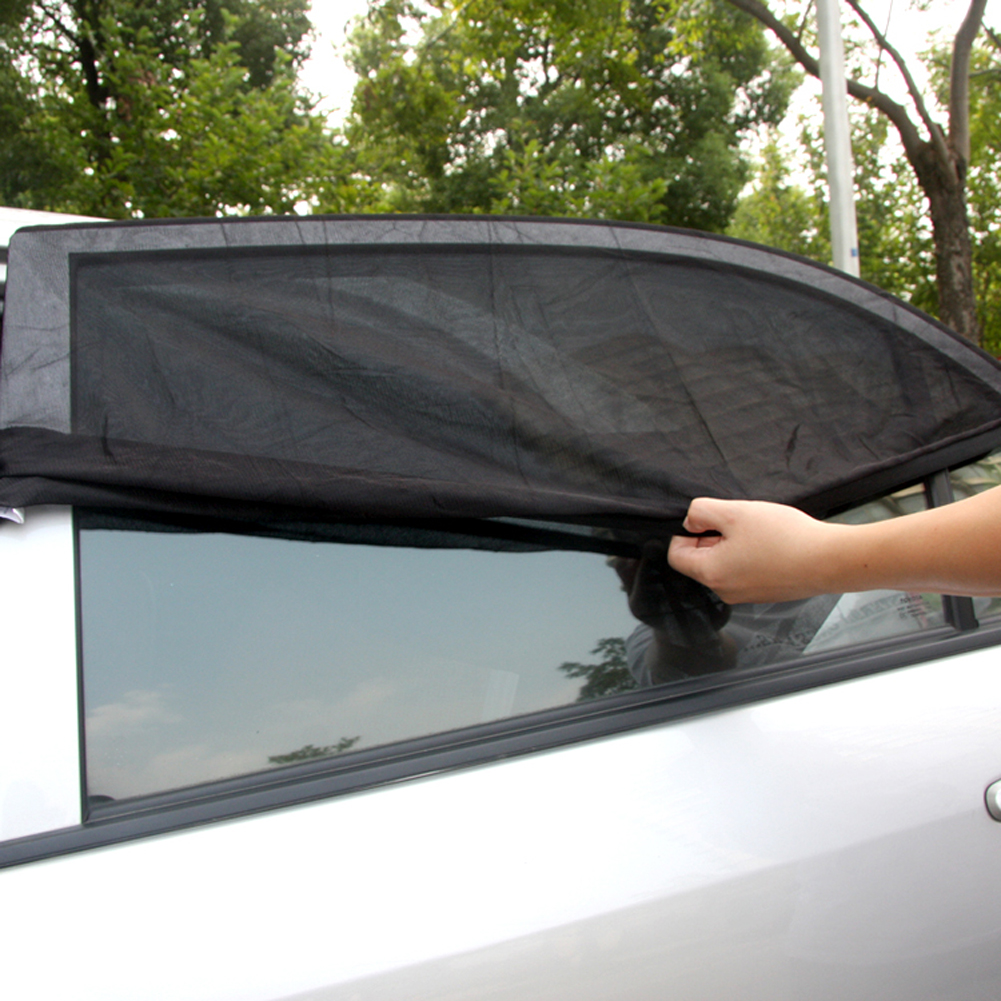 2PCS Adjustable Auto Car Side Window Sun Shade Black Mesh Solar Protection Covers Visor Shield Sunshade UV Protection Size L