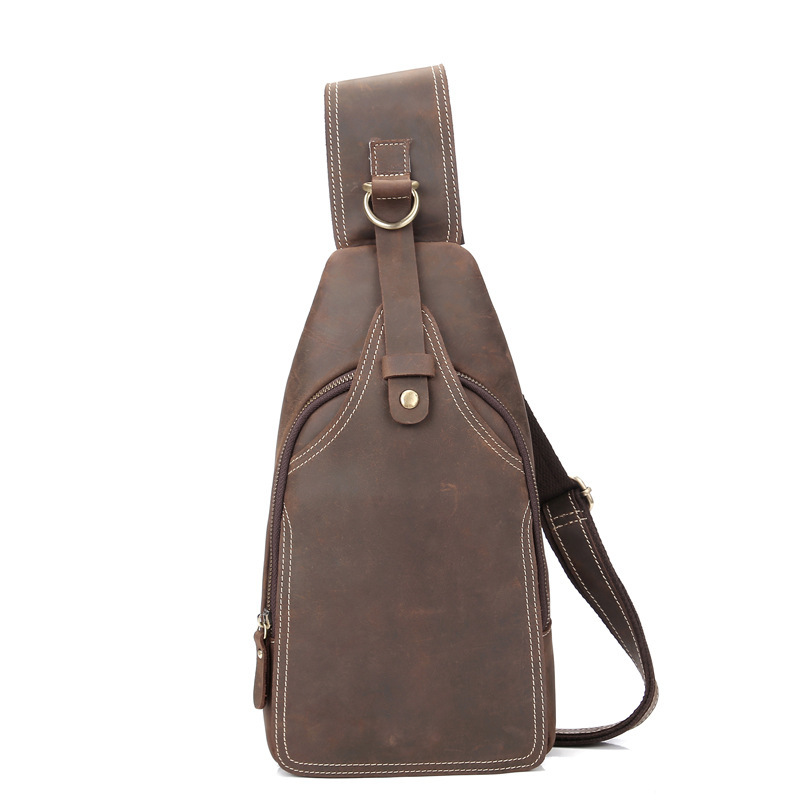 Mens Real Leather Shoulder Bag Chest Bag Small Sling Bag Handbag Cow Leather Men Boy Phone Bag Mushi-XY1085