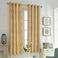 One Set 2 Pieces Black Out Jacquard Fabric Curtains For Livingroom Grommet Top Style High Quality