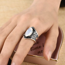 2018 New Hot Bohemian Vintage Silver Big Stone Ring for Women Boho Jewelry Gift Wedding Rings Opal Ring Mens Rings Wedding Band(China)