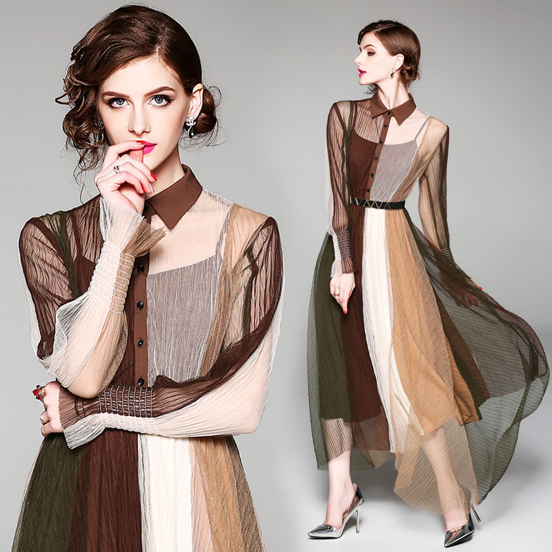 Brown Contrast Color Mesh Tunic Maxi Dress Elegant Bohemian Office Party Fashion Beach Dress 2019 Spring Long Sleeve Clothing Платье